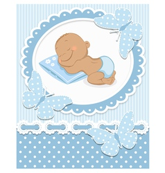 Sleeping African baby boy vector image