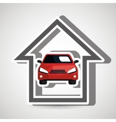 Smart home with car isolated icon design vector