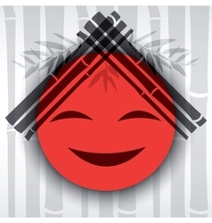 Smiling red sun with bamboo branches vector image vector image