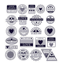 Stamps of love season in dark blue silhouette vector