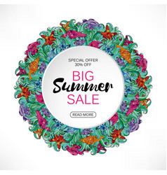 Summer sale round frame of sea shells and vector
