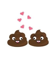 Two cute poop fall in love flirting vector image vector image