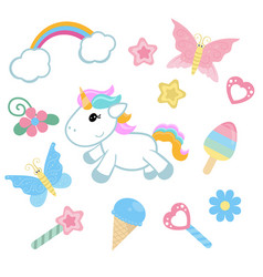 Unicorn with magic design elements unicorn with vector