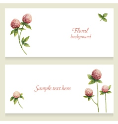 Watercolor floral banners painted by hand vector