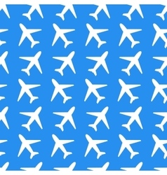 White plane icons on blue background seamless vector image vector image