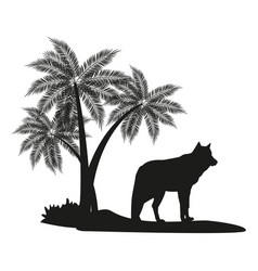 Wolf and palm tree black silhouette vector