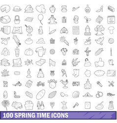 100 spring time icons set outline style vector