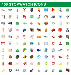100 stopwatch icons set cartoon style vector image vector image