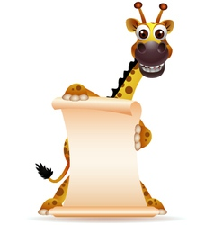 cute giraffe cartoon with blank sign vector image