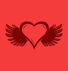 Heart with wings graphic vector