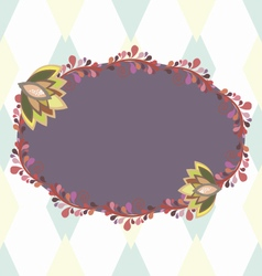Purple oval frame with floral elements vector