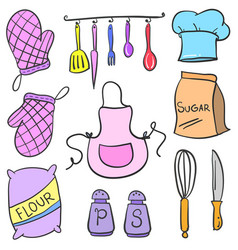 doodle kitchen accessories set collection vector image