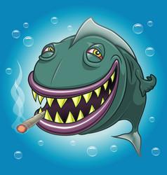 Smiling cartoon fish smoking marijuana vector