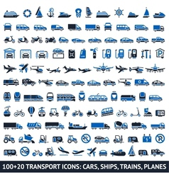 100 and 20 transport blue icons vector