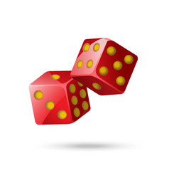Red poker dice - modern isolated object vector