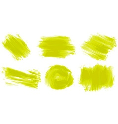 Different stroke of yellow paint vector