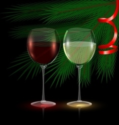 Festive glasses of wine vector
