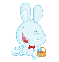 Blue Bunny Running With Easter Eggs In A Basket vector image