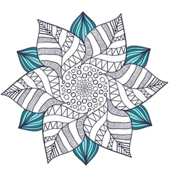 Unique mandala in floral style circle vector