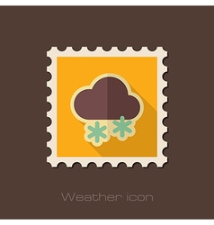 Cloud with snow flat stamp meteorology weather vector