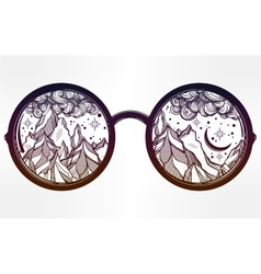 Round glasses with mountains in the reflection vector