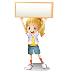 A girl carrying an empty signboard vector image vector image