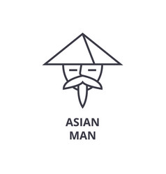 asian man line icon outline sign japanese man vector image