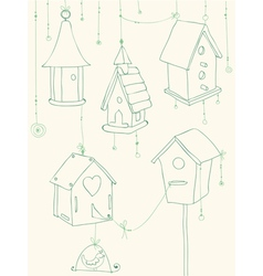 bird house doodle card vector image vector image