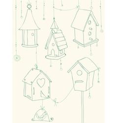 bird house doodle card vector image