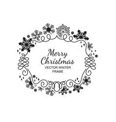 black snowflake frame white background xmas vector image vector image