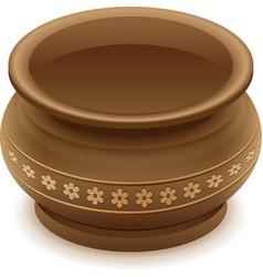 Brown empty clay ceramic pot vector