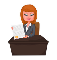 Business woman agent giving a presentation vector