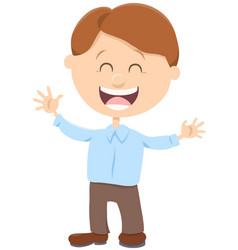 Cheerful boy cartoon vector