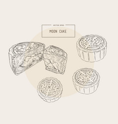 chinese cuisine moon cake sketch vector image vector image