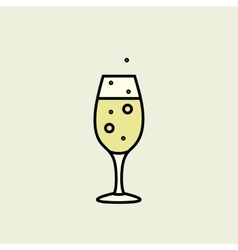 Christmas champagne glass icon vector
