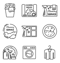 Cleaning service line icons vector