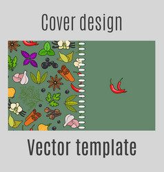 cover design with spices pattern vector image vector image
