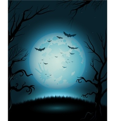 Creepy Halloween night poster full moon copy space vector image vector image