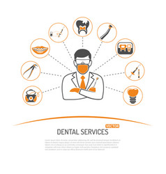 dental services and stomatology infographics vector image vector image