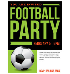 Ffootball soccer party flyer invitation vector
