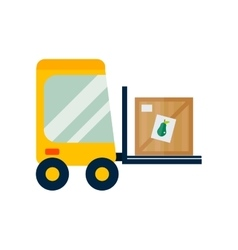 Forklift loader with wooden box vector