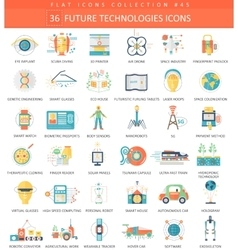 Future technology color flat icon set vector image