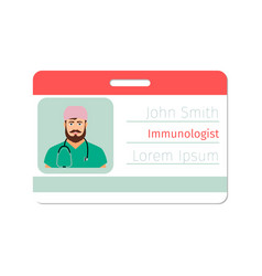 Immunologist medical specialist badge vector