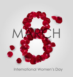 international women day with rose petals arrange vector image vector image