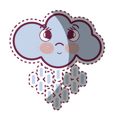 kawaii thinking cloud raining with eyes and cheeks vector image vector image