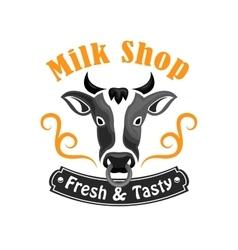 Milk Shop emblem with farm cow vector image