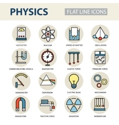 Modern thin linear icons of physics and vector