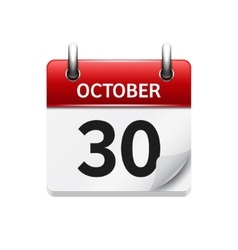 October 30 flat daily calendar icon date vector