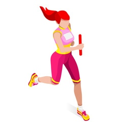 Running relay 2016 sports isometric 3d vector
