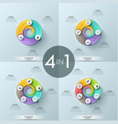 Set of 4 infographic design layouts vector